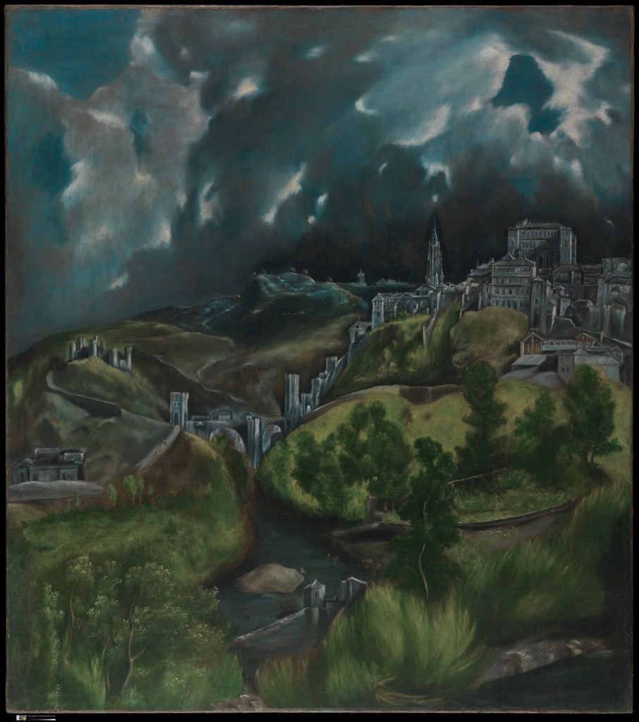 El Greco (Domenikos Theotokopoulos) (Greek, Iráklion (Candia) 1540/41–1614 Toledo) View of Toledo, ca. 1598–99 Oil on canvas; 47 3/4 x 42 3/4 in. (121.3 x 108.6 cm) The Metropolitan Museum of Art, New York, H. O. Havemeyer Collection, Bequest of Mrs. H. O. Havemeyer, 1929 (29.100.6) http://www.metmuseum.org/Collections/search-the-collections/436575